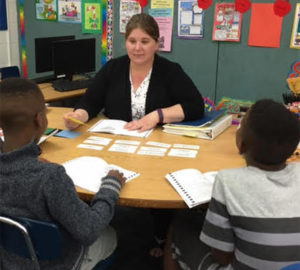 Florida educator Misty Kennedy works with students on a Visualizing and Verbalizing lesson.